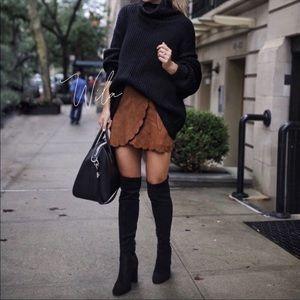 HP✨NWT Scalloped vegan suede skirt, various sizes